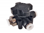 Union 3way change valve 1/4 x 1/4 topfit