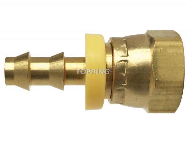 Fitting to hose barb lock-on swivel 1/4 x 1/4 (f) npt