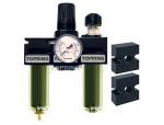 Filter + regulator + lubricator 1/4 mini manual zinc+transp modulair