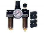 Filter + regulator + lubricator 1/4 mini auto zinc+transp modulair