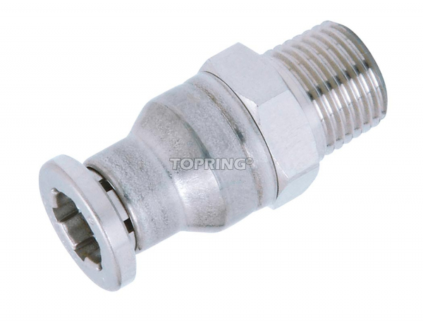 Hexagonal male threaded connector 10 mm x 3/8 (m) bspt stainless steel topfit