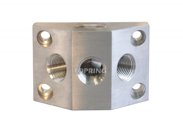Aluminium manifold (2) 3/4 (f) bspp x (3) 3/8 (f) npt