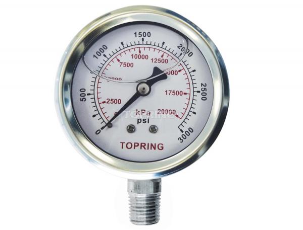 "Liquid gauge 4"" – 1/4 npt lm 0-3000 stainless steel"