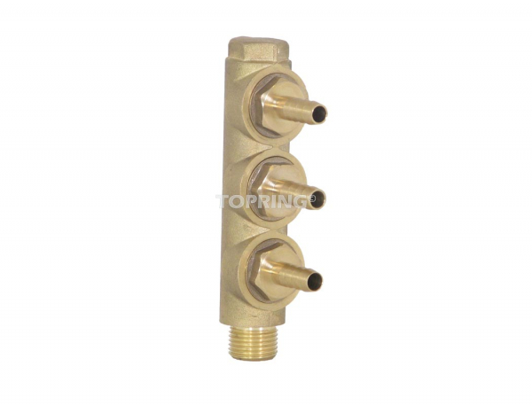 Multi-inlet adapter 3/8 barb.(3) x 1/2 bspp