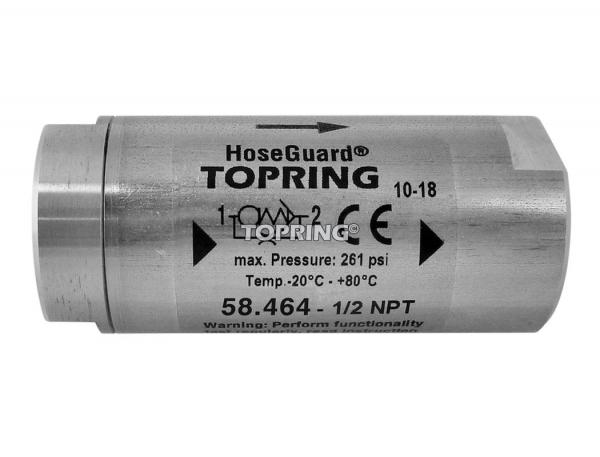 Anti-hose whip safety valve hoseguard 1/2 (f-f) npt 107 scfm stainless steel