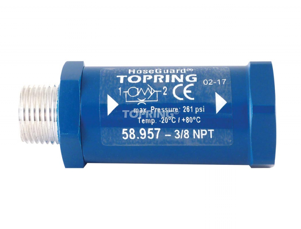Anti-hose whip safety valve hoseguard 3/8 (m, f) npt 33 scfm