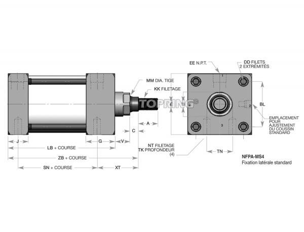 """Cylindre pneumatique nfpa 5"""" x 4"""" piston magnétique"""