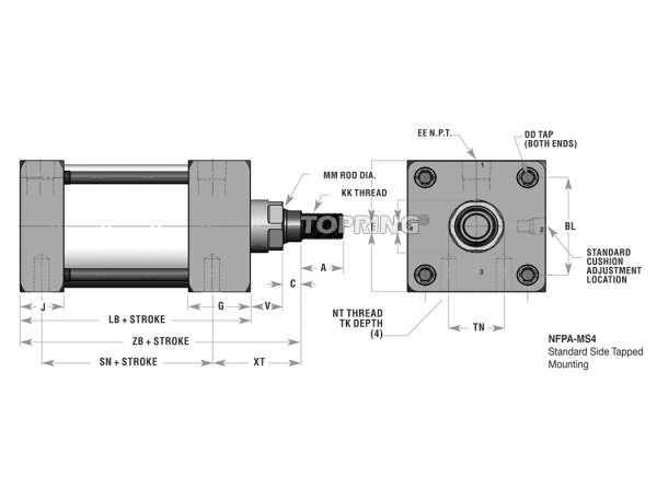 "Nfpa pneumatic cylinder 3-1/4"" x 16"" magnetic piston"
