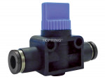 Topfit polymer miniature ball valves with push-to-connect fittings (3 directional)