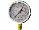 "Liquid gauge 2-1/2"" – 1/4 npt lm 0-160 stainless steel/brass"