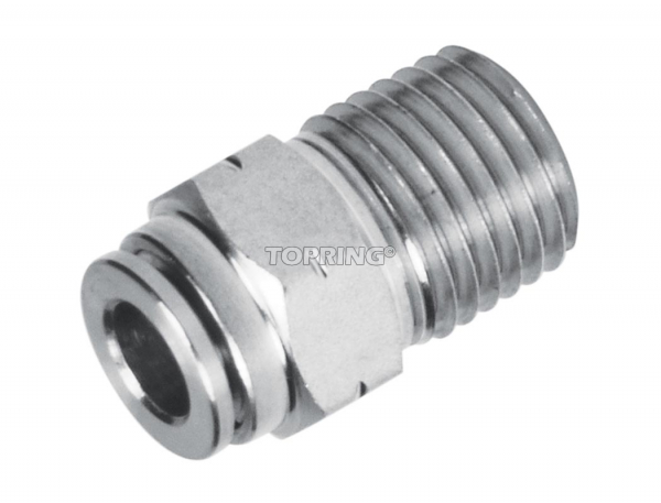 Connector male straight 1/4 x 1/4 (m) npt ss topfit