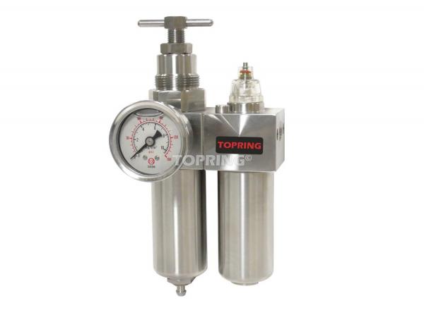 Filtre/régulateur+lubrificateur 1/4 airflo inox 200 semi auto