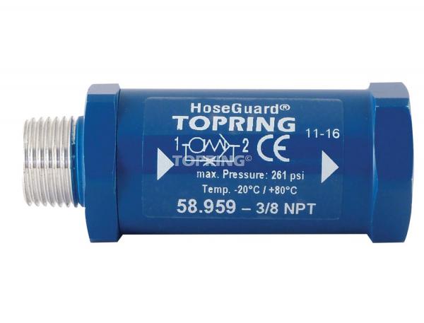 Anti-hose whip safety valve hoseguard 3/8 (m, f) npt 46 scfm