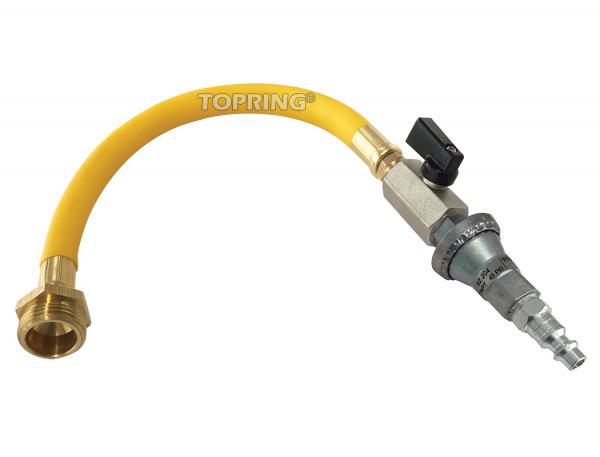 Ensemble adaptateur pour purge d'eau avec connecteur mâle et régulateur