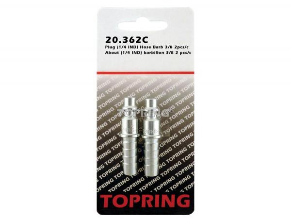 Plug (1/4 industrial) hose barb 3/8 2pcs/c