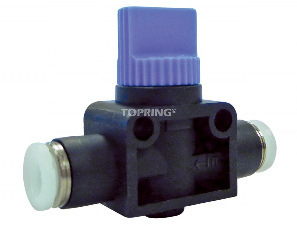 Straight union miniature hand valve 2-way 3/8 topfit