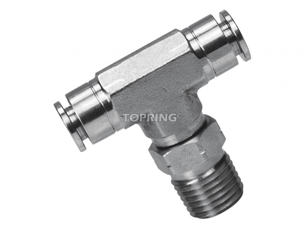 Male swivel branch tee 1/4 x 1/8 (m) npt ss topfit