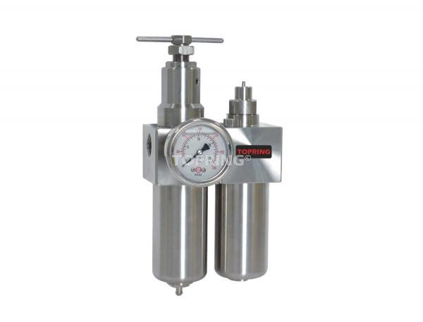 Filtre/régulateur+lubrificateur 3/8 airflo inox 300 semi auto