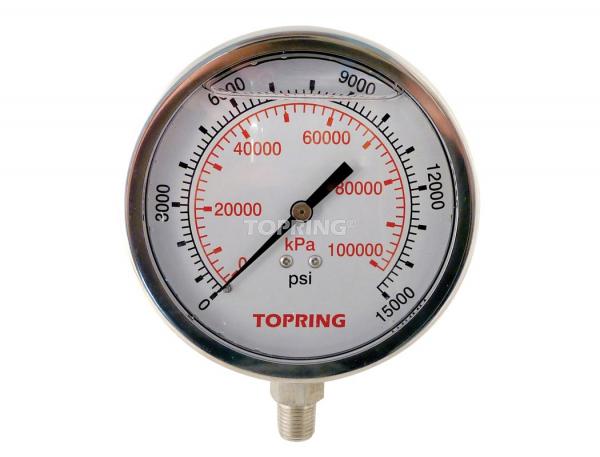 "Liquid gauge 4"" – 1/4 npt lm 0-15 000 stainless steel"