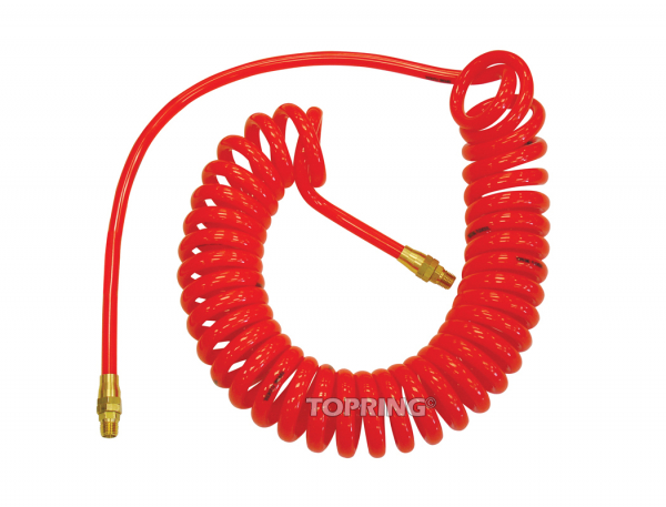 Self-storing polyurethane hose 3/8 x 15' x 1/4 (m) npt flexcoil red
