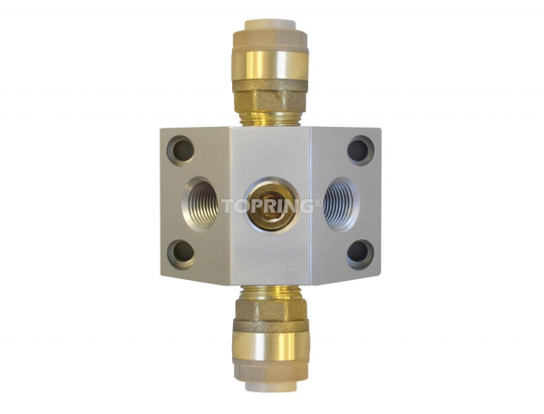 Aluminium manifold (2) 28 mm x (2/3) 1/2 (f) npt quickline