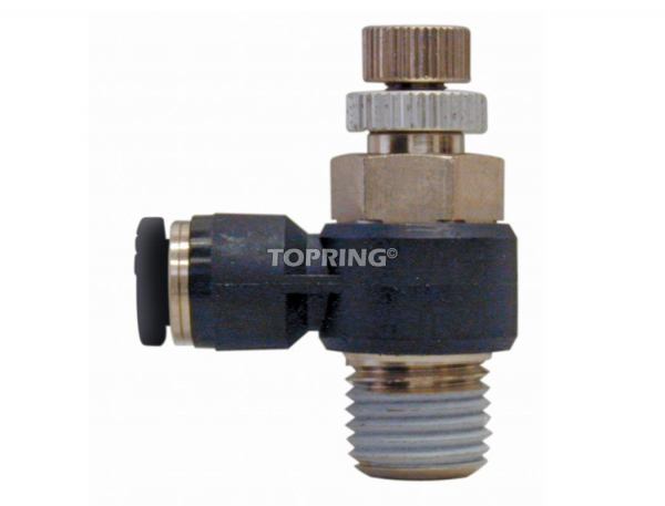Threaded elbow speed controller with flow control valve 8 mm x 1/4 (m) bspt meter out topfit