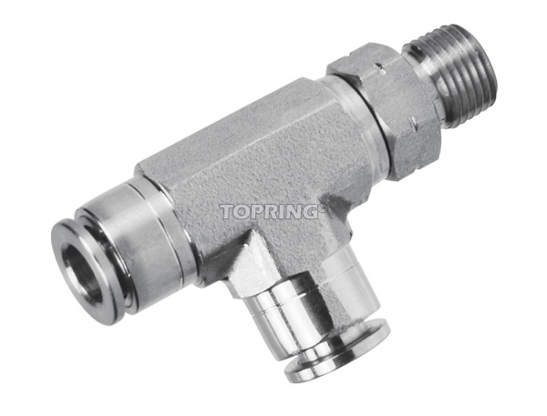 Male swivel run tee 1/2 x 3/8 (m) npt ss topfit