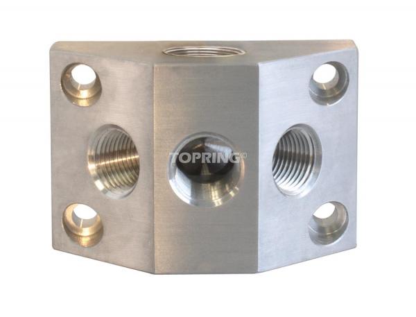 Aluminium manifold (2) 1/2 (f) bspp x (2) 3/8 (f) npt