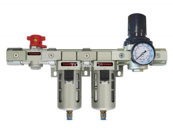 Vanne d'échappement+filtre+filtre coalescent + régulateur + lubrificateur 3/8 airflo 400