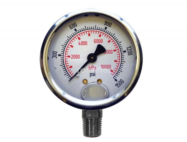 "Liquid gauge 4"" – 1/4 npt lm 0-1500 stainless steel"