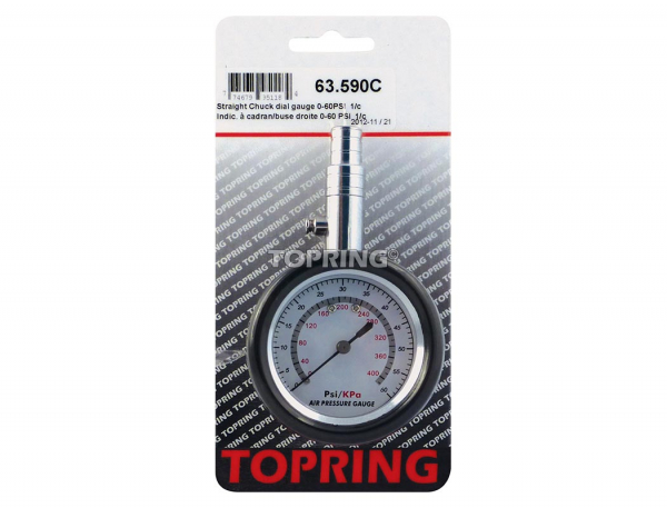 Tire gauge dial/straight 0-60 psi