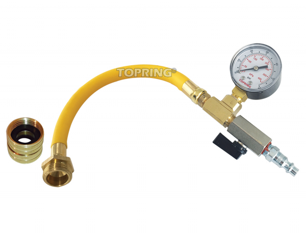 Water blowout adapter kit with male and female connector and 0-60 psi pressuer gauge