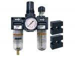 Filter + regulator + lubricator 1/4 mini manual polyurethane modulair