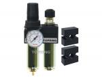 Filter/regulator+lubricator 1/4 mini manual zinc+transp